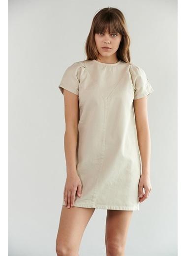 Levure Arkası Fermuar Detaylı Kot Elbise  Taş